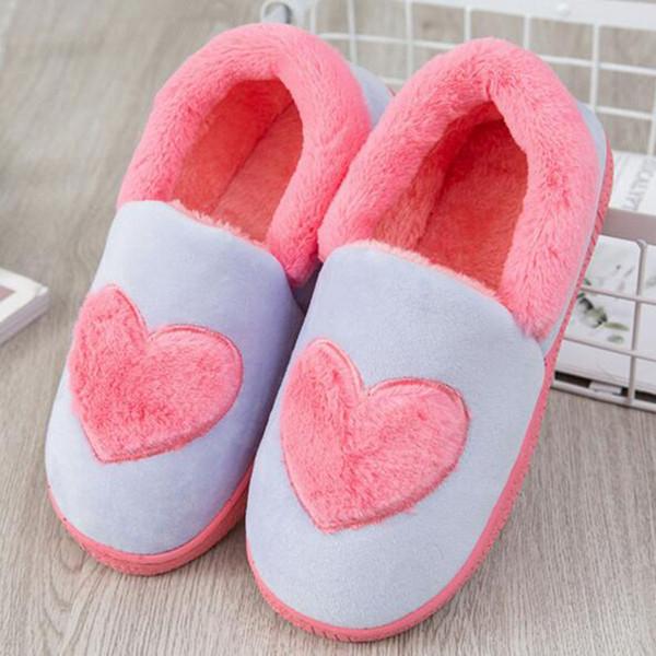 Hiver Garder Au Chaud Femmes Mode Plate-Forme Appartements Pantoufles Chaussures Intérieur Coeur Imprimé Mules Réchauffent Antidérapant Bas Pantoufles