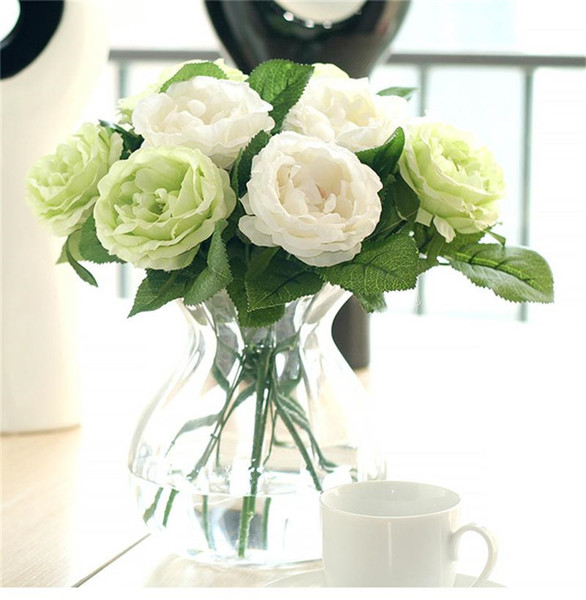 Şakayık Simülasyon Çiçek Lahana Gül Açık Buds Tek Şube Yapay Gül Şakayık Buket çiçek Düğün Ev Partisi Dekorasyon
