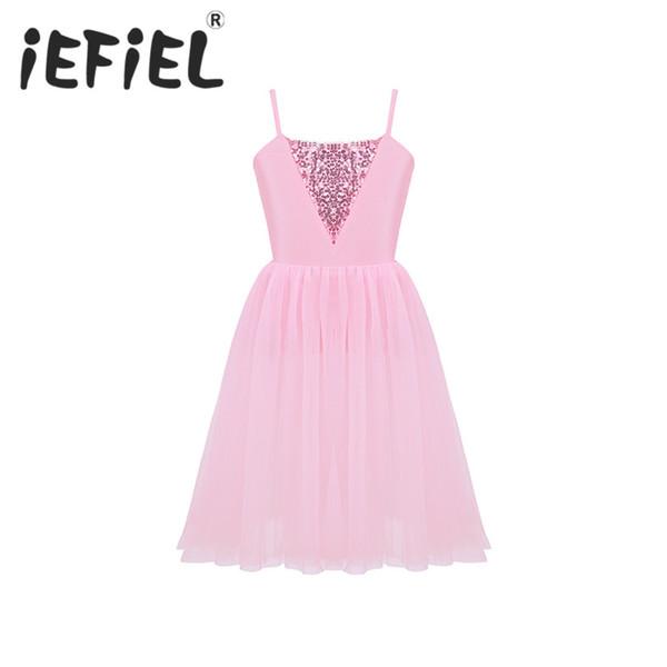 iEFiEL Kids Girls Sequins Mesh Ballet Dance Gymnastics Leotard Tutu Tulle Dress Children Dancing Stage Performance Dancewear