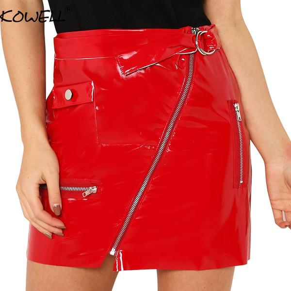 Kowell Noir Taille Haute En Cuir PU Jupe Femme Zipper Bandage Une Ligne D'été Mini Jupe EleParty Club Court Jupes Femme