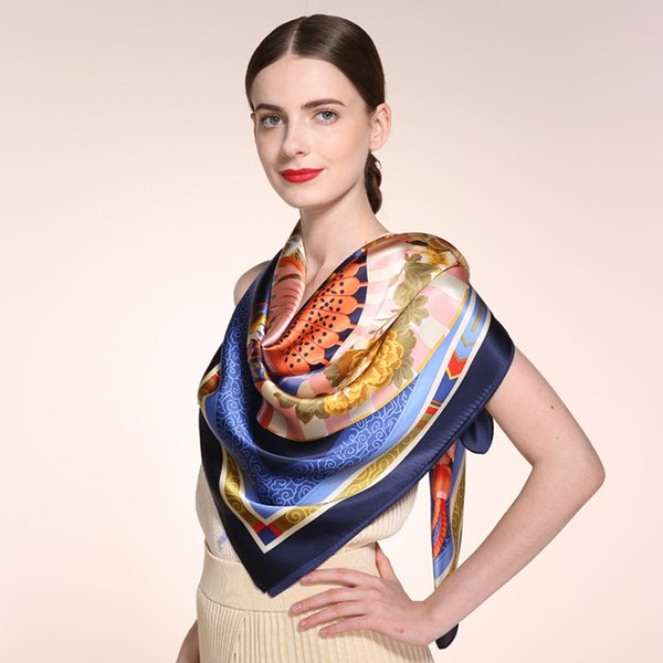 Winter Thick Silk Scarf Shawls,100% Pure Silk Scarf Wraps,Bandana Headband Hijabs,110*110cm Square Floral Printed Female