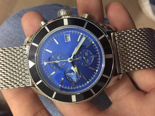 Luxury AAA Brand Superocean Heritage Chrono BLUE Dial a1332016/c758 46mm Mens Quartz Movement Watches Stainless steel Mens Sport Wrist Watch