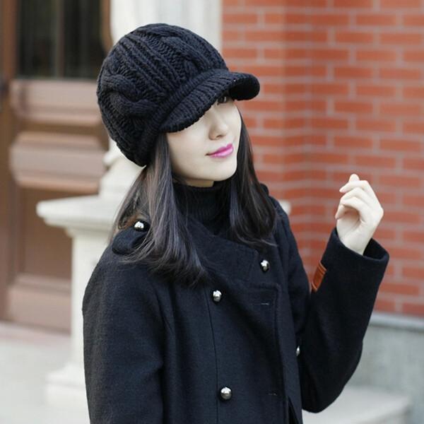 2017 Korean Style Winter Warm Women Crochet Knit Beanie Wool Peaked Hat Cap Black