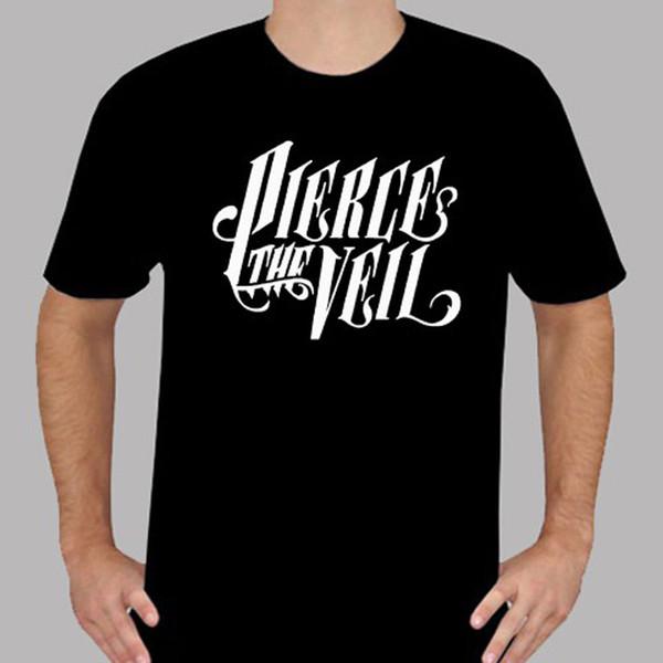 T-shirt nera da uomo PIERCE THE VEIL Logo Hard Rock Band Taglie dalla S alla 3XL T-shirt stampata nera da uomo di alta qualità