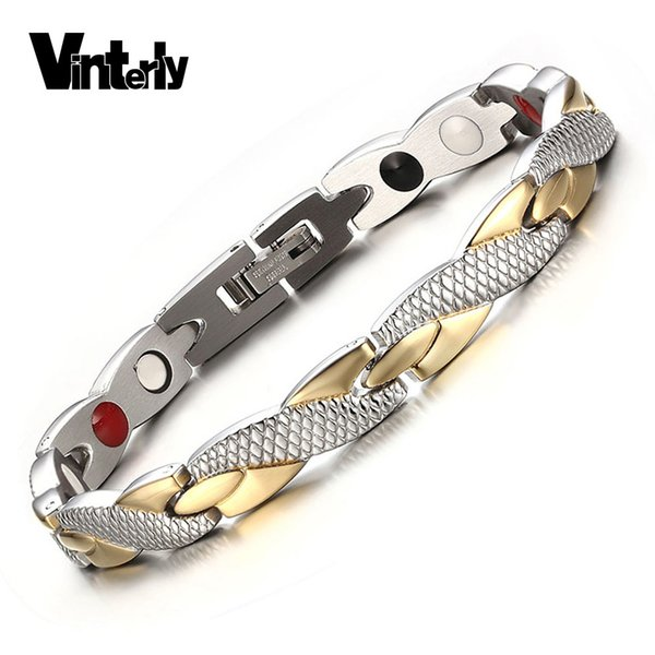 Vinterly Health Energy Magnetic Ion Germanium Bracelet Men Pulseras Hombre Chain Link Stainless Steel Bracelet Bangle Women Men S915