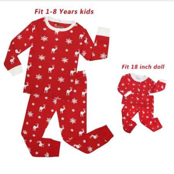 TINOLULING baby girls doll christmas pajamas set doll pajamas for 18inch children sleepwear kids princess pyjamas pijamas