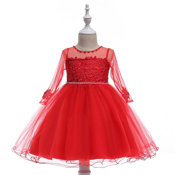 Mesh long-sleeved dress girls baby age full moon posing wine dress wedding embroidered princess dress