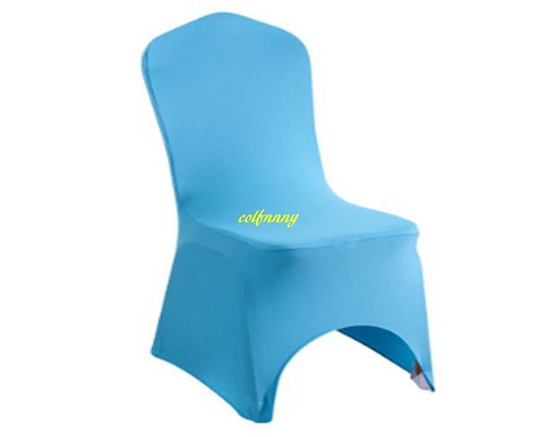 50 pz / lotto stile arco anteriore spandex festa da sposa coperture copre universale stretch polyeste copertura della sedia in lycra 9 colori