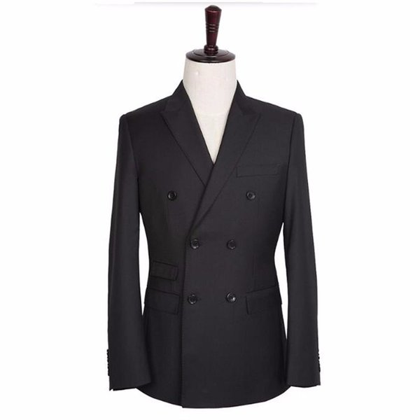 Black men suits jacket double breasted men wedding tuxedos jacket tailor made groom best man suits