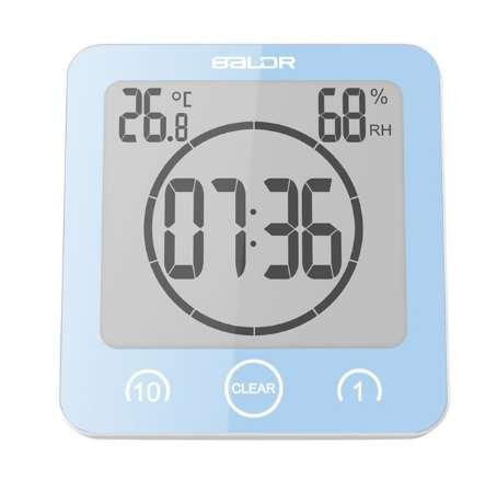 Baldr Digital Bathroom Clock Waterproof Shower Clock Suction Cups Countdown Alarm Timer Humidity Wall Digital Thermometer Clock
