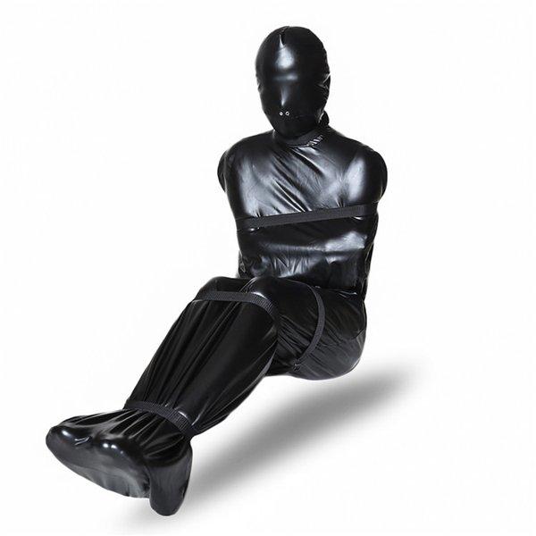 Hot sale SM device black sacking full body bondage restraint nasal hole sleeping bag with six traps BDSM sex toy