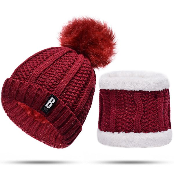 [Lakysilk]Winter Warm Beanie Hats Snood Set for Women Ladies Crochet Skullies & Beanies With Pompom Girls Knitted Velvet Hat