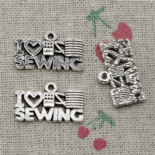 100pcs Charms I love sewing 20*12mm Tibetan Silver Vintage Pendants For Jewelry Making DIY Bracelet Necklace