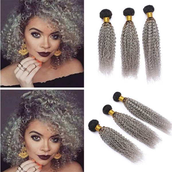 Raízes cinza escuro Ombre brasileira cabelo encaracolado Weave Pacotes Two Tone 1B Grey Ombre Kinky Curly Humanos tramas do cabelo Extensões