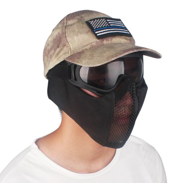 Tactical Mezza Faccia Metal Steel Net Mesh Mask Hunting Protective Guard Mask Cover per protezione semicerchio