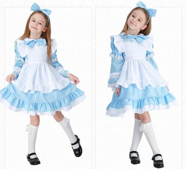 Halloween Deluxe Mädchen Alice im Wunderland Kostüm Kid Märchenbuch Lolita Maid Buch Woche Kindertag Outfit Fancy Dress
