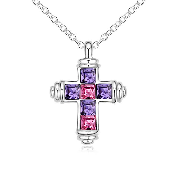 Christian cross pendant necklace with Crystals from Swarovski for women girls lover Christmas fashion jewelry gift 2018