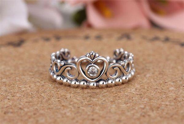 925 Silver Crown Wedding Rings For Women Pandora Style Princess