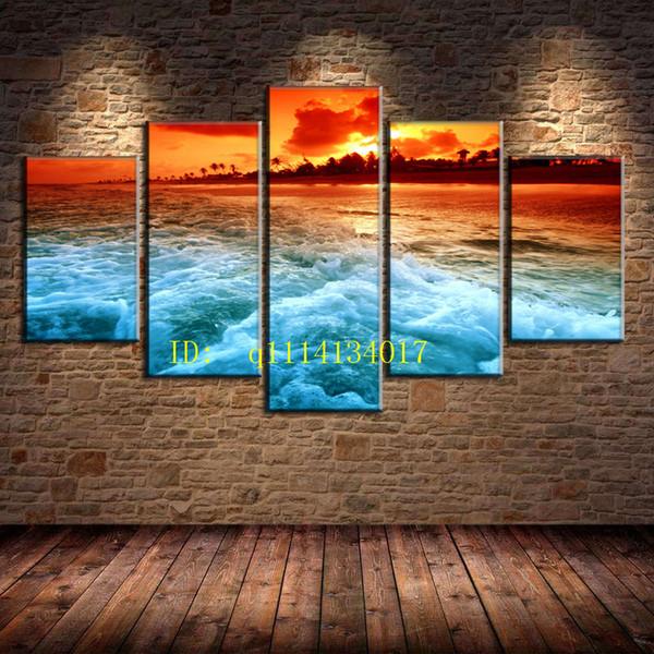 Sunset Beach 5 Pieces Toile Art mural Peinture à l'huile, décoration de maison / (sans cadre / encadrée)