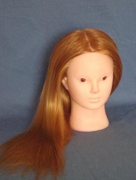 Venta al por mayor 1 UNID colorido pelucas de cabello humano femenino REGALO mujer modelo maniquíes cabeza peluquería, cara inventada con base de plástico rack, M00673