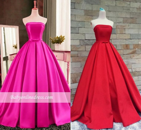 Prom Dresses 2018 Sexy Simple Red Strapless A-Line Evening Gowns Sleeveless Bows-Sashes Puffy Plus Size Custom Made Vestidos De Festa