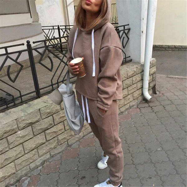 2piece Set Winter Women Suit Casual Clothes Women Hooded Open-air Sweater Tracksuit