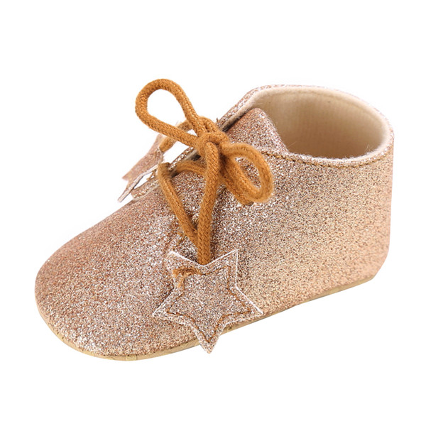 Lovely Baby Sneakers Newborn Baby Crib Shoes Girls Toddler Stars Shining Baby Lace-up Babies Shoes PU leather Soft Prewalkers