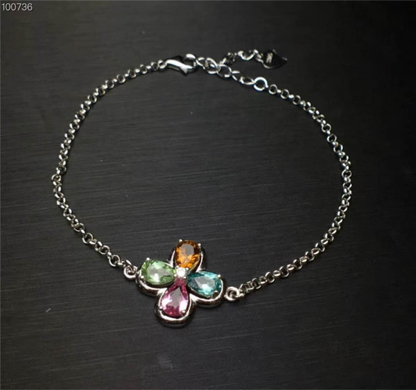 Brand New Natural Colorful Tourmaline Bracelet with 925 Sterling Silver Fine Jewelry Genuine Gemstone For Women Party