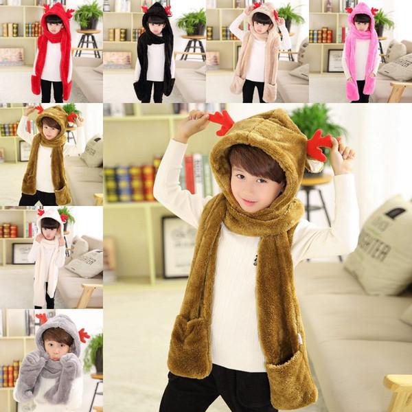 cute deer Hat Scarf gloves multifunctional warm winter baby deer thick cap for boy girl newborn children kids Christmas deer hats
