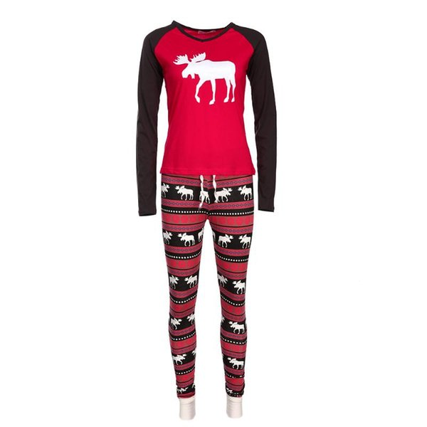 2Pcs/Set Christmas Family Clothing Outfit Family Reindeer Matching Set Mother/Kids/Father/Baby Clothes Family Xmas Suit