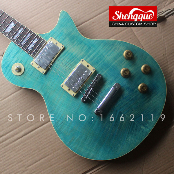 Factory custom 6 strings electric guitar flamed maple top blue color with rosewood fingerboard musical instrument Shop