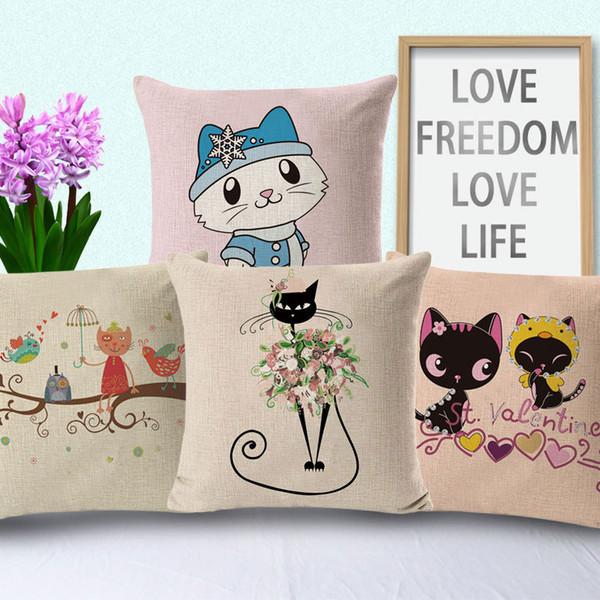 Nouveau Taie d'oreiller 4 Styles Hot Cotton Cartoon Chat Print Oreillers Coussin Coussin Coussin Taie d'oreiller Chiot Housse Coussins Housses