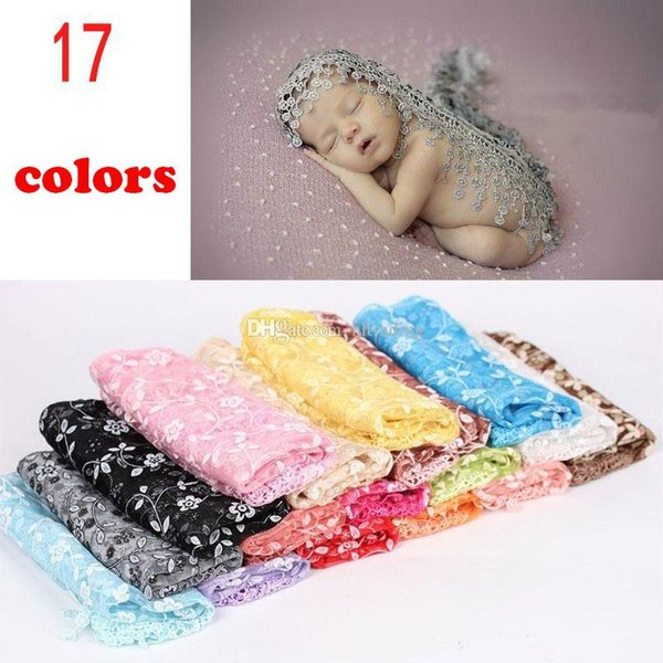 140*40cm Baby Photography Props Infant Wraps Blankets Newborn Photography Wraps Lace Flowers Baby Swaddling C3047