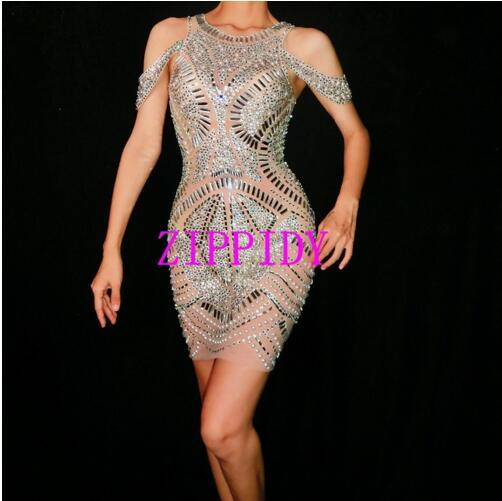 Sexy Silver Rhinestones Mesh Dress See Through Birthday Dresses Female Singer Evening Party Prom Celebrate Perspective Dress