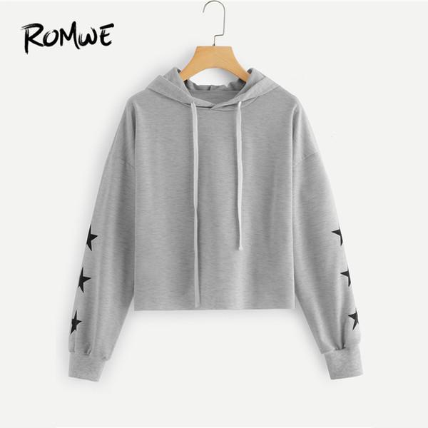 20188 ROMWE Geometric Star Print Hooded Grey Drawstring Sweatshirt Women Casual 2018 Autumn Long Sleeve Pullovers Ladies Spring Hoodie