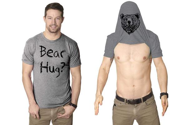 2019 Summer T Shirt Men's Casual Short Sleeve Cotton Tops Mens Grizzly Bear Flip T shirt Funny Bear Hug Shirt Humorous Novelty Tee