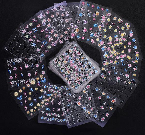 best selling 50 pcs Set 3D Mix Color Floral Design Nail Art Stickers Decals Manicure Beautiful Fashion Accessories Decoration
