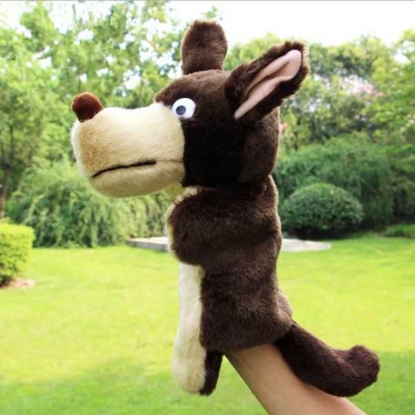 Hot Sale Hand Puppet Dolls Wolf Model Baby Early Educational Plush Puppet Christmas Animal Toys Brinquedo