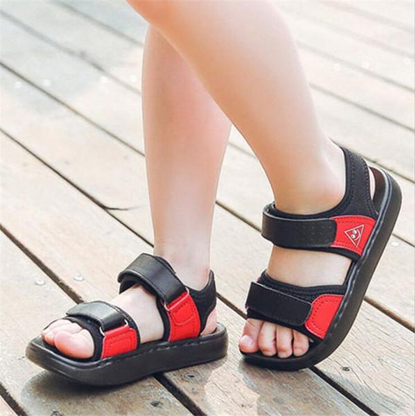 Meninos Sandálias De Couro Genuíno 2018 Nova Moda Verão Meninos Meninas Sapatos de Estudante Crianças Esportes Respirável Sapatos de Praia