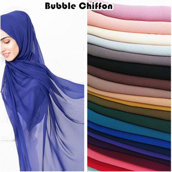 Hot sale plain bubble chiffon hijab solid color scarf scarves fashion Muslim headband popular hijabs gorgeous muffler 10pcs/lot Y18102010
