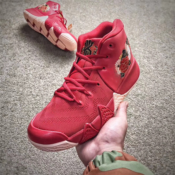new concept 8207a 8ca8c 2017 2018 Cny Kyrie 4 Chinese New Year Men'S Kyrie Irving 4s Red Basketball  Shoes Sneakers Embroidered Flowers 943807 600 With Original Box 40 46 From  ...