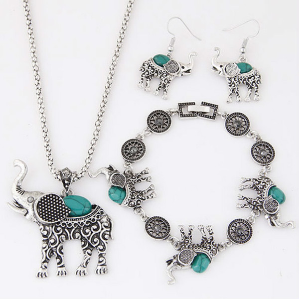 Wish Restore Ancient Ways Wind Suit Bracelet Earrings Necklace Ornaments Small Stomach Elephant Three-piece