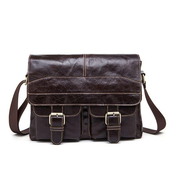 Men Genuine Leather Vintage Shoulder Bag for Men's Messenger Bag Zipper Briefcases Computer Crossbody Bags Male Handbags