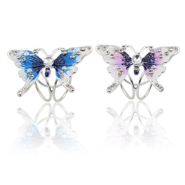Mode Silber Strass Emaille Schmetterling Clip Brosche Tier Schal Schnalle Für Frauen Weihnachten Pins Schmuck Geschenke Großhandel