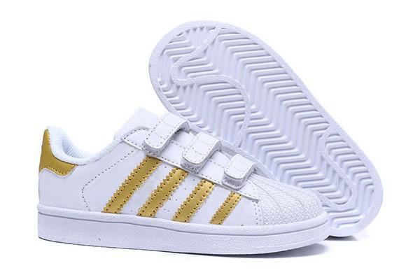 temperament shoes look for sleek Großhandel 2018 Adidas Superstar Kinder Superstar Schuhe Original Weißgold  Baby Kinder Superstars Turnschuhe Originals Super Star Mädchen Jungen Sport  ...