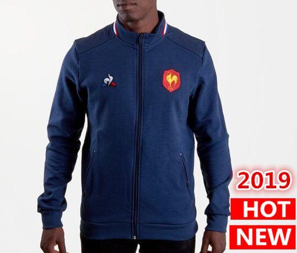 Best Quality 2019 France Rugby Jerseys Jacket 18 19 jersey France presentation collegiate Navy Jacket s-2xl