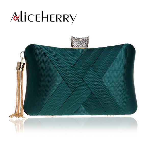 Luxury Handbags Women Bags Designer Silk Evening Bag Lady Satin Bridal Wedding Green Gold Box Purse Party Messenger Tassels