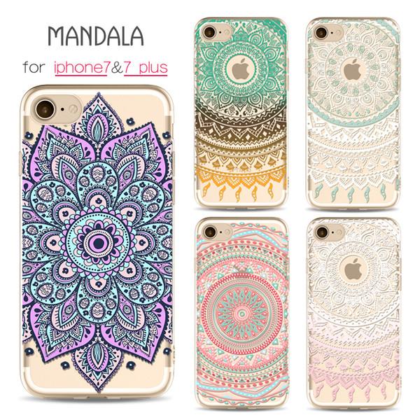 For iPhone 7 7 Plus Case Clear Soft TPU Cover Totems Floral Mandara Pattern Cases Bohemia For iPhone 6 6s plus 5 5s Cellphone Shell Free DHL