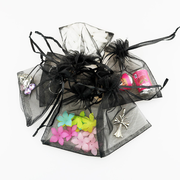 Organza Gift Bag 100pcs 7x9cm Black Shell Jewelry Display Packaging Storage Bag Pouches Drawstring Tea Dry Flower Food Bolsa