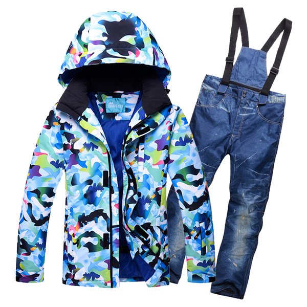 2018 Hot New man Waterproof Ski Jacket Pants Winter Snowboard Mountain Skiing Suit Outdoor Camouflage Windproof Snow Clothes